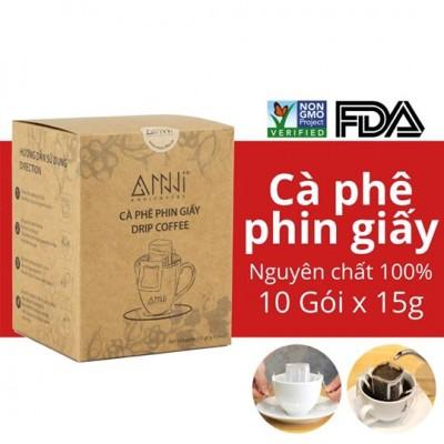 Cà phê phin giấy ANNI COFFEE - Drip Coffee - (10 Gói x 15g) 100% Arabica & Robusta nguyên chất Kèm gói đường bên trong